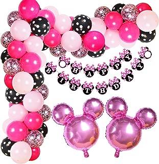 Kreatwow Minnie Themed Birthday Decorations Minnie Balloon Garland Arch Kit for Birthday Baby Shower Supplies