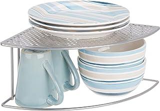 mDesign Balda de cocina – Soporte para platos redondeado para rincones de encimeras e interiores de armarios – Estante sep...