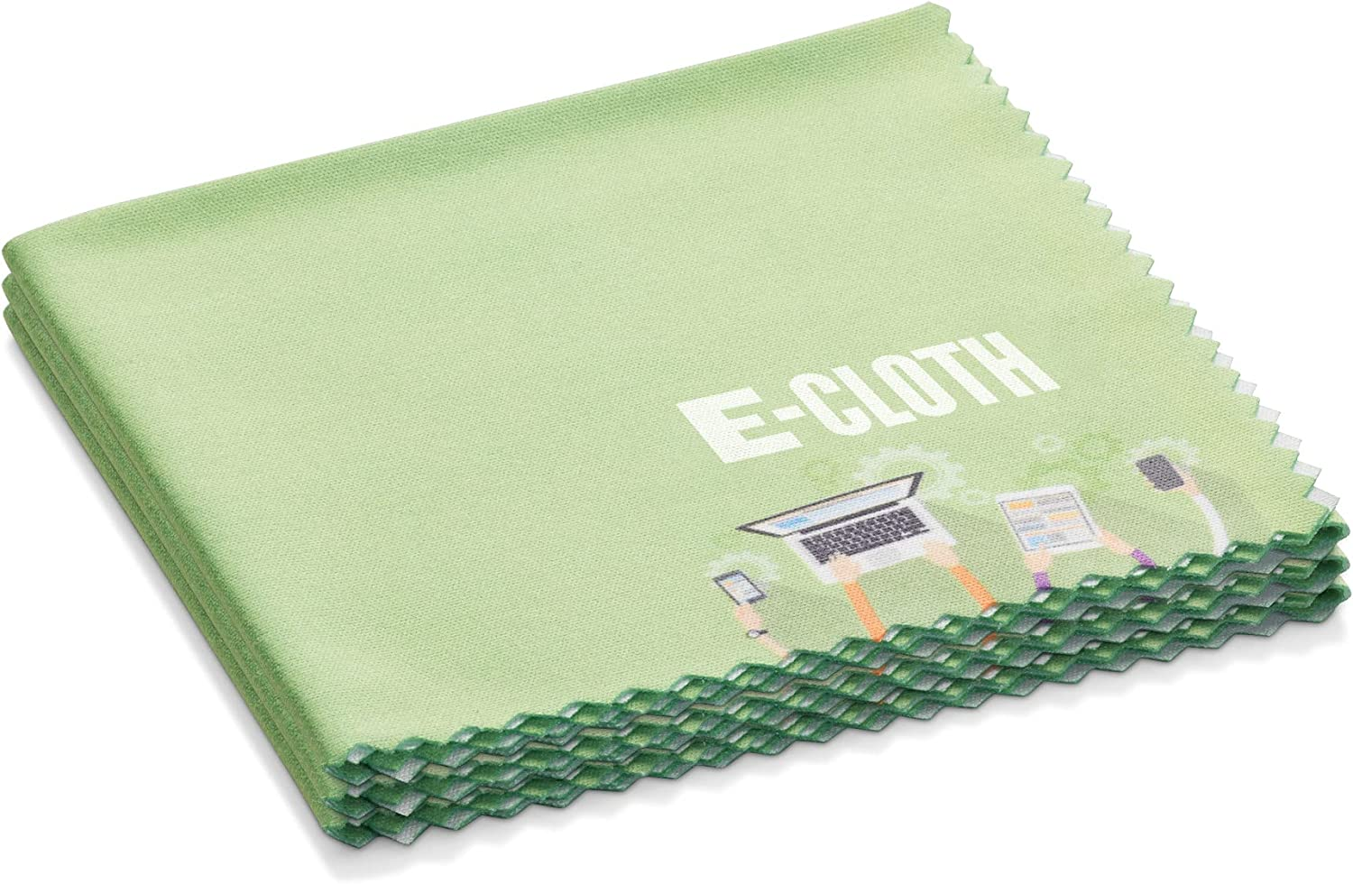 E-Cloth Reusable Personal Electronics Microfiber Cleaning Cloth for Phones, Tablets & Devices, 300 Wash Guarantee, Green, 3 Pack