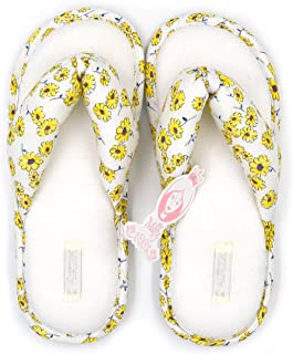 Millffy Summer Floral Print Cotton Slippers Japanese Yellow Daisy Flowers Ladies Thong Slippers