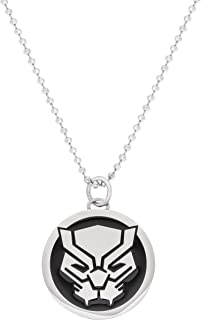 "Marvel Comics Black Panther Jewelry, Stainless Steel Pendant Necklace, 22"" Ball Chain"