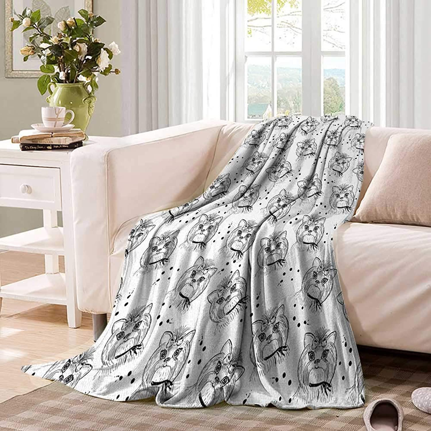 Black and WhiteSmall blanketCute Dog Pattern with Buckle and Collar Monochrome House Pet Illustrationthin Blanket 60 x50  Black White