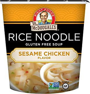 Dr. McDougall's Right Foods Asian Soup Sesame Chicken Rice Noodle, 1.3 Ounce Cups (Pack of 6) Gluten-Free, Non-GMO, No Added Oil, Paper Cups From Certified Sustainably-Managed Forests