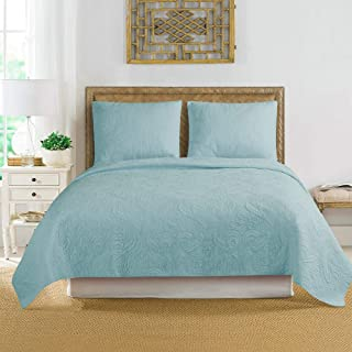"ARTO MOSTO 100% Cotton Quilted and Prewashed 3PC Oversized Luxury Quilt Set/Coverlet Set/Bedspread Set.Full/Queen:92""x96""/20x26""(2), King: 110""x96""/20x36""(2) (Pattern #3-Blue, Full/Queen)"