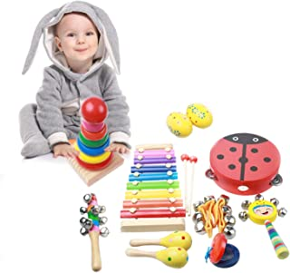 Musical Instruments for Toddlers, ZOUTOG 9 Types 12 Pcs Wooden Percussion Instruments Toy for Kids Preschool Educational, Musical Toys Gift Set