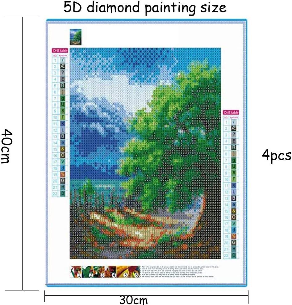 Ambolio 4 Pezzi,Diamond Painting 5D Kit Completo,Diamond Painting Four Seasons Tree,Numero Kit DIY Strass Ricamo Craft Arts,Completo Home Parete Pittura Decor. Albero delle Quattro Stagioni