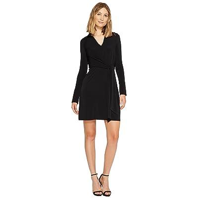Laundry by Shelli Segal Wrap Front Shirtdress (Black) Women