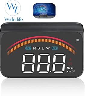 Widerlife Upgrade Version Car Universal Dual System HUD Head Up Display OBD II/GPS Interface,Vehicle Speed MPH KM/h,Engine RPM,OverSpeed Warning,Mileage Measurement,Water Temperature,Voltage,Compass
