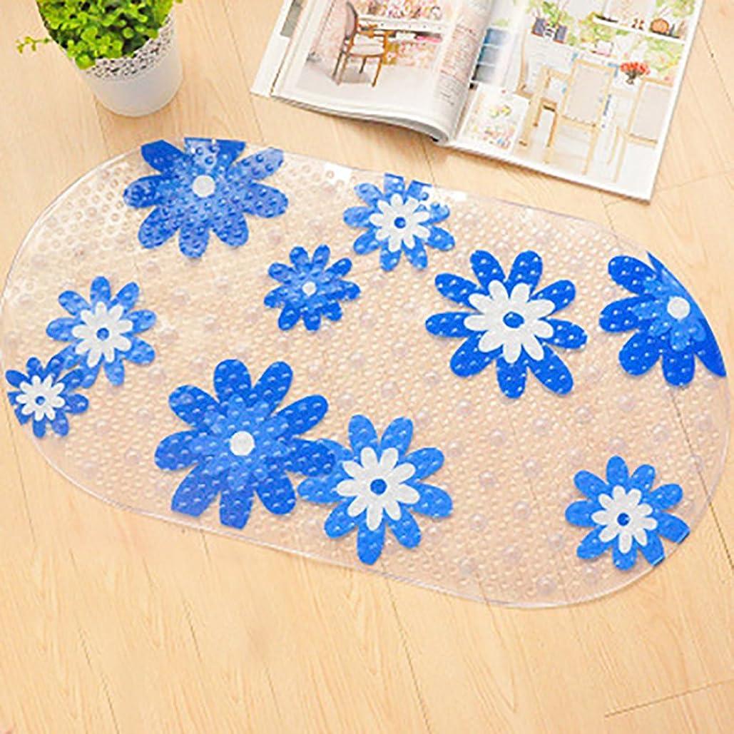 家事立証する好戦的な青い花ポータブルバスマットフィギュア滑り止めマット、吸盤マット、シャワーマット、浴槽マット、抗菌、きれいに簡単に、39 * 71cm、マッサージマット、足マット