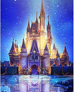 HKKYT 5D DIY Diamond Painting kit Resin Rhinestone Embroidery Cross Stitch Full Drill Home Wall Decor Starry Castle (20x25cm)