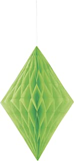Unique Diamond Honeycomb Hanging Tissue Decorations, Lime Green