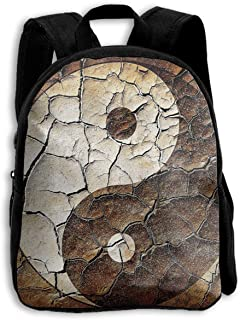 ZXCDF Picture of Asian Yin Yang Logo Painted On Broken Earth Children Backpack for School Tourism Mountaineering Outdoor Sports Etc