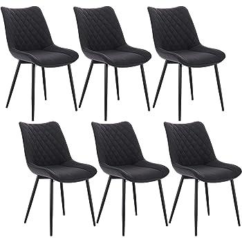 WOLTU® Esszimmerstühle BH208dgr 6 6er Set Küchenstuhl Polsterstuhl Wohnzimmerstuhl Sessel mit Rückenlehne, Sitzfläche aus Leinen, Metallbeine,