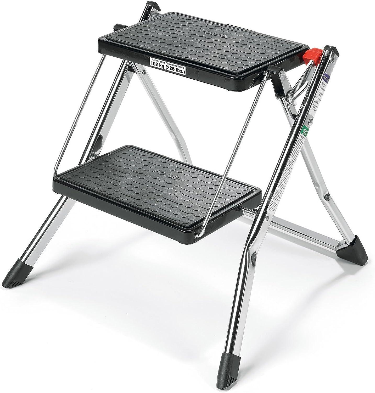 Polder 90401-05 Mini 2-Step Stool, 17  High, 225 lb. (102 kg.) Capacity, Chrome