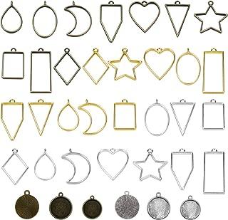 Meetory 36 piezas de colgantes de bisel en blanco, marco de abalorios, moldes de resina hueca para hacer joyas de resina, aretes, collares, pulseras, colgantes y manualidades