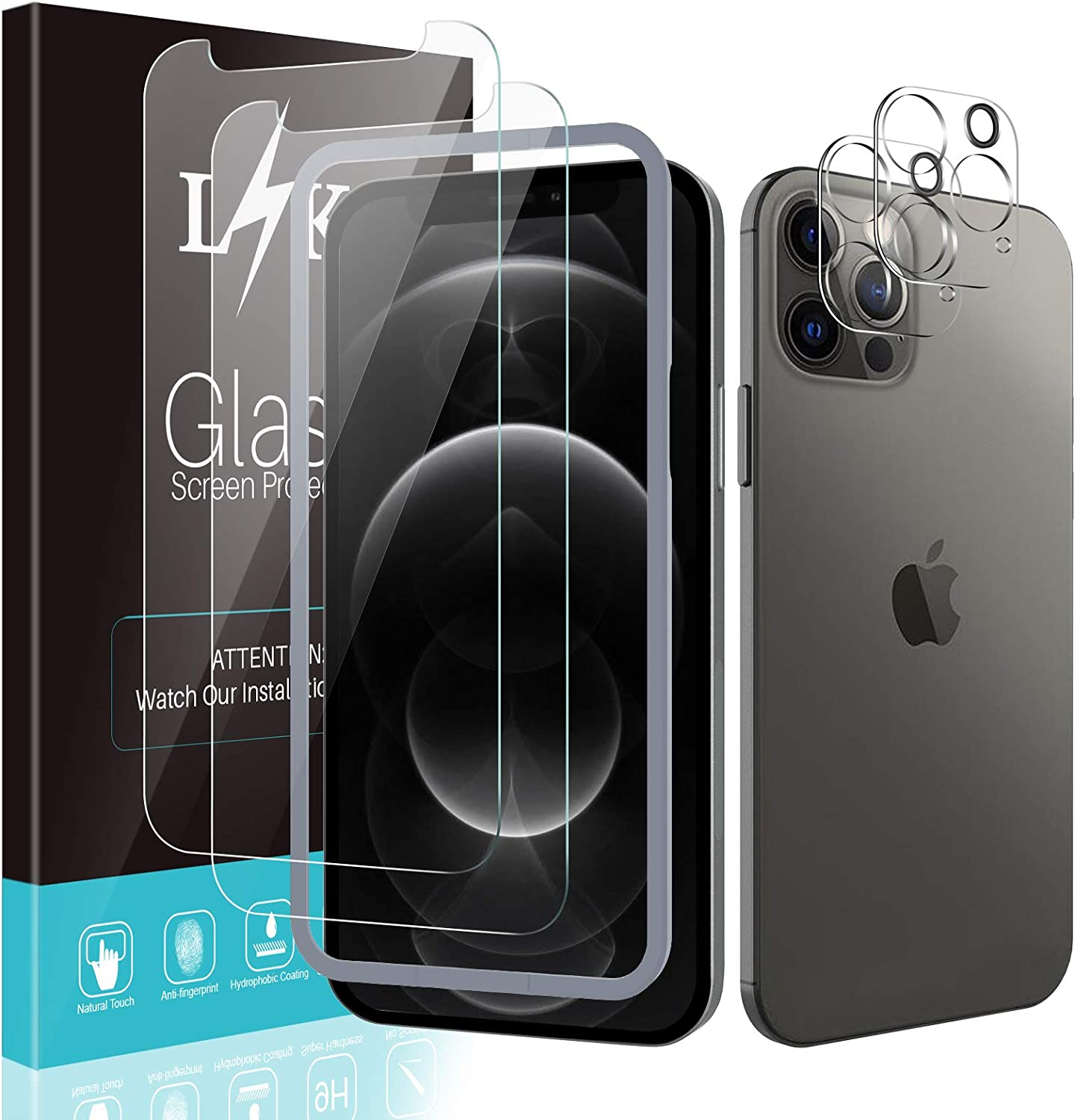 [2+2 Pack] LϟK 2 Pack Tempered Glass Screen Protector & 2 Pack Camera Lens Protector Compatible for iPhone 12 Pro 5G 6.1 inch -Not for iPhone 12, Tempered Glass, Come with Installation Tray - Gray