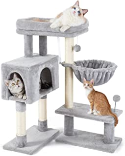 rabbitgoo Cat Tree 97CM Cat Tower with Adjustable Base for Indoor Cats, Multi-Level Cat Condo with Scratching Posts & Larg...