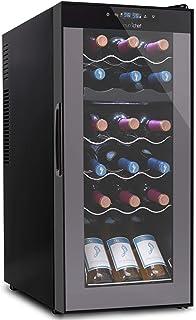 18 Bottle Wine Cooler Refrigerator - White Red Wine Fridge Chiller Countertop Wine Cooler, Freestanding Compact Mini Wine ...