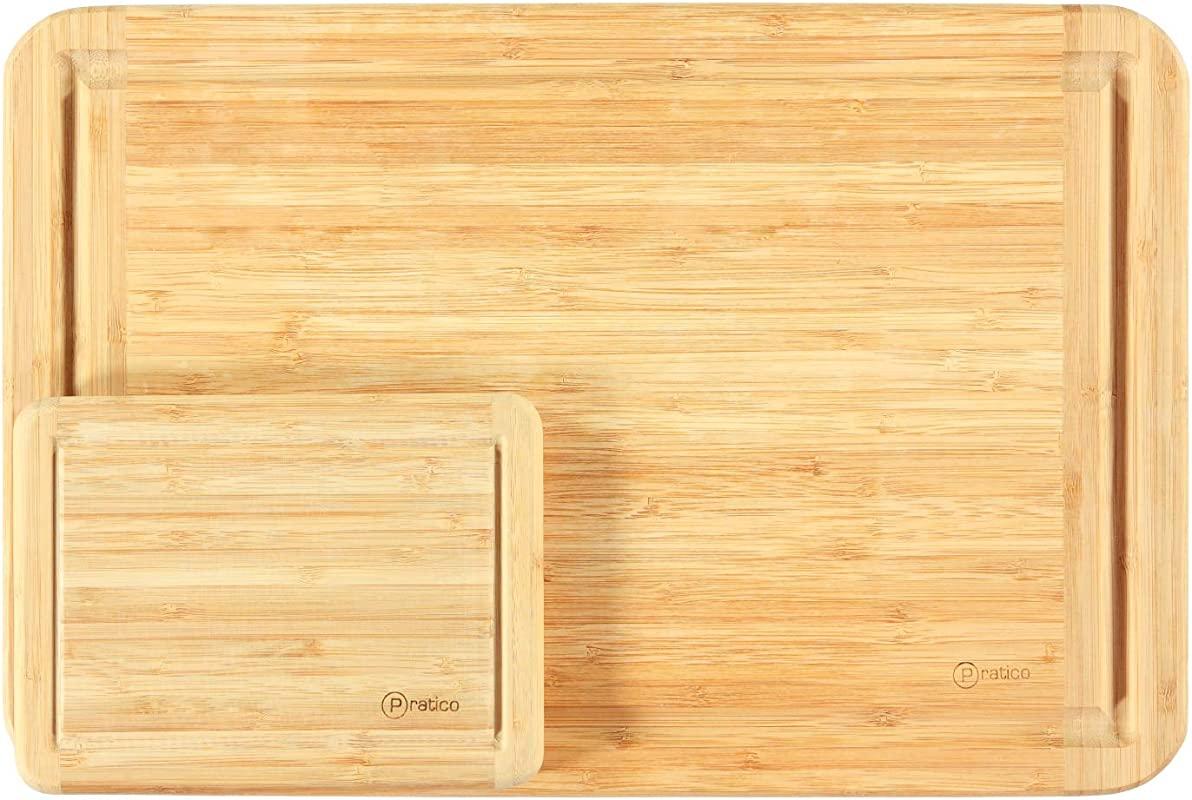 Bamboo Cutting Board And Serving Tray With Juice Groove Set Large 18x12 Small 8x6 Made Using Premium Bamboo