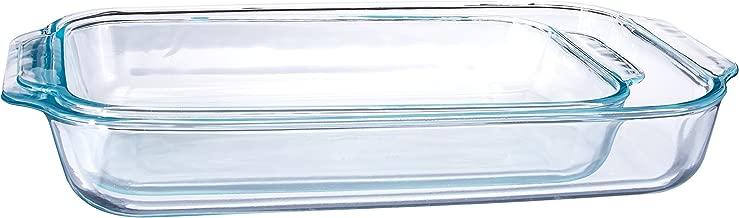 Pyrex transparente cristal para horno platos rectangulares conceptos básicos, 2 piezas Paquete Plus de juego de valor