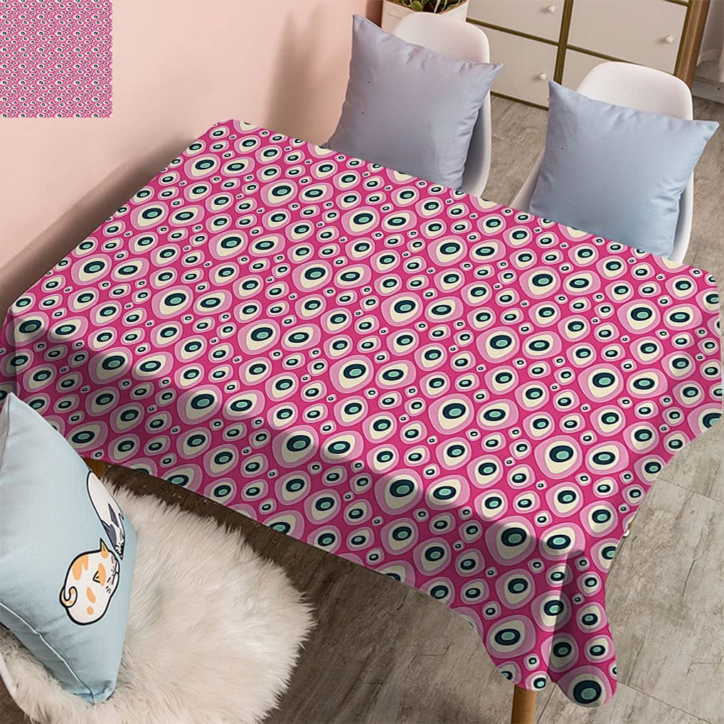 Retro Rectangular Table Cloth Abstract Shapes Bubble Limited Special Price Like Boston Mall on Ho