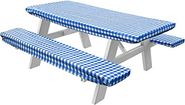 Violet Linen Deluxe Checkered Gingham Pattern Picnic Bench Fitted Table Cover, 28 x 72 Inch, 3-Piece Set, Blue
