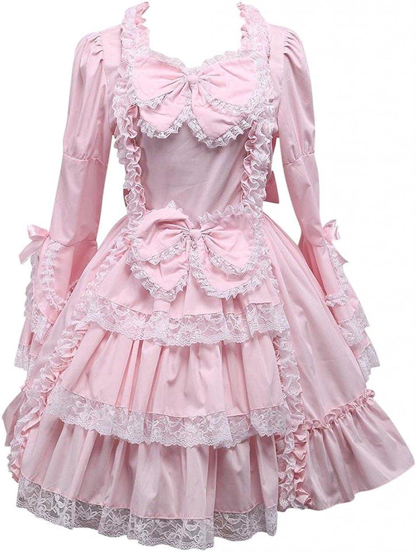 Cemavin Womens Pink Bow Long Sleeves Ruffles Cotton Lolita Dress
