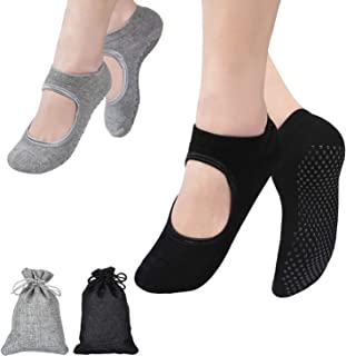 2 Pares Calcetines Yoga, Pilates Calcetines, Calcetines Antideslizantes Mujer pour Yoga, Pilates, Ballet, Fitness Antideslizantes (Negro y Gris)