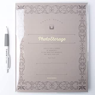 Photo Storage Album with AHZOA Pencil, 30 Pages Black Inner Page Self-Adhesive Type 8.27 x 10.24 Inch (Gray)