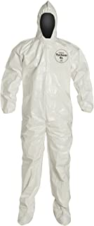 DuPont Tychem 4000 SL122T  Chemical Resistant Coverall with Hood and Boots, Disposable, Elastic Cuff, White, 2XL (Pack of 6)