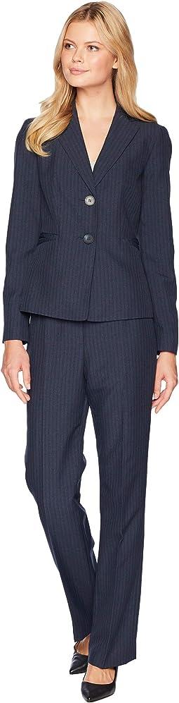 Stripe Two-Button Notch Lapel Pants Suit