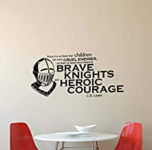 C. S. Lewis Quote Vinyl Wall Decal Brave Knights Heroic Courage Chronicles of Narnia Inspirational Sayings Lettering Vinyl Decor Motivational Kids Room Home Bedroom Decor Removable TT7201