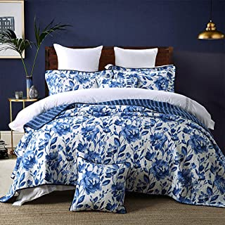 HNNSI Blue and White Porcelain Cotton Quilt Bedspread Sets Queen Size 3 Pieces,Chinese Style Floral Comforter Bedding Sets