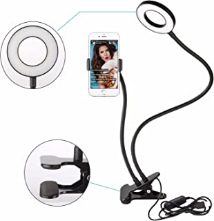 Sokani Lazy Bracket Cell Phone Holder with Selfie Ring Light for Live Stream,Flexible Long Arms Gooseneck Mount, Clamp with LED Selfie Light for Mobile iPhone 7,6/Plus,Samsung,HTC,Huawei