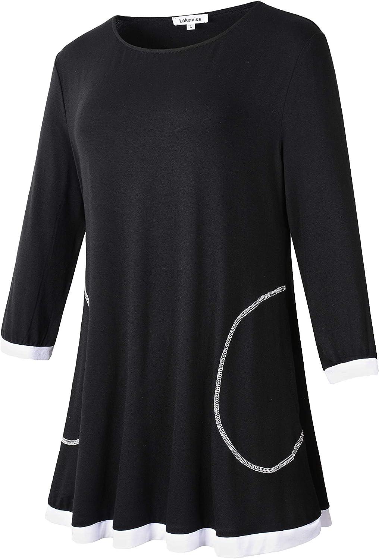 Lakemiss Women V Neck 3//4 Cuffed Sleeve Shoulder Overlay Buttons Tunics Blouses