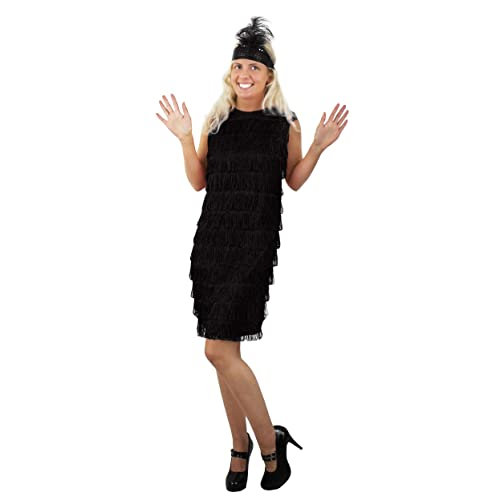 f83e448adc7 ILOVEFANCYDRESS® LADIES FLAPPER FANCY DRESS COSTUME 1920 S FRINGE DRESS IN  BLACK WITH MATCHING FEATHER SEQUIN