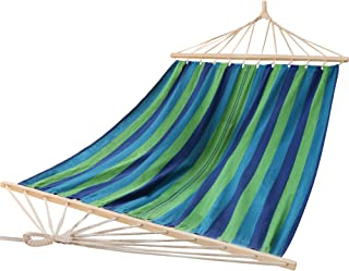 Utopia Home Supreme Nylon Hammock - Supports Up to Two People or 400 LBS - Porch, Backyard, Indoor, Camping - Durable, Ultralight Material - Includes Hanging Straps (Blue and Green)