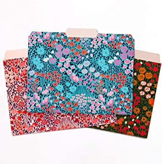 Jot & Mark Floral Pattern File Folders | Letter Size Colorful Folders for Documents and Filing Cabinets (Set of 12)