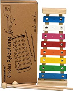GYBBER&MUMU Colorful 8 Tones Hand Knock Musical Instrument Xylophone with 2 Wooden Mallets -- Inspire Children's Talent for Music!
