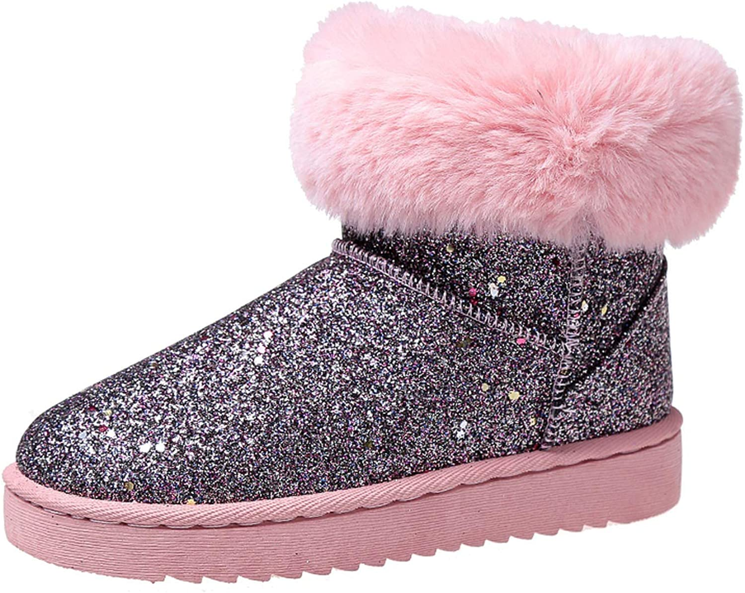 Brave pinkmary Winter Bling Glitter Snow Boots Women Sequined Short Plush Ankle Boots Casual Slip-On Fuax Fur Warm Woman Boots