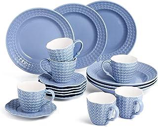 Sunting Porcelaine Services à Café. 18 pcs Motif de Diamant Relief Tasse à Café avec Soucoupe et Assiettes à Dessert. New ...