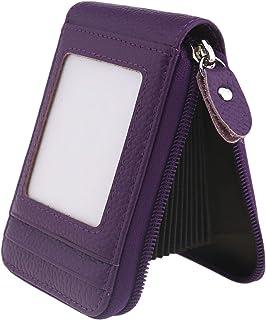 ENET Soft Leather Credit Card Holder Wallet Pocket ID Business Card Case Purse Purple