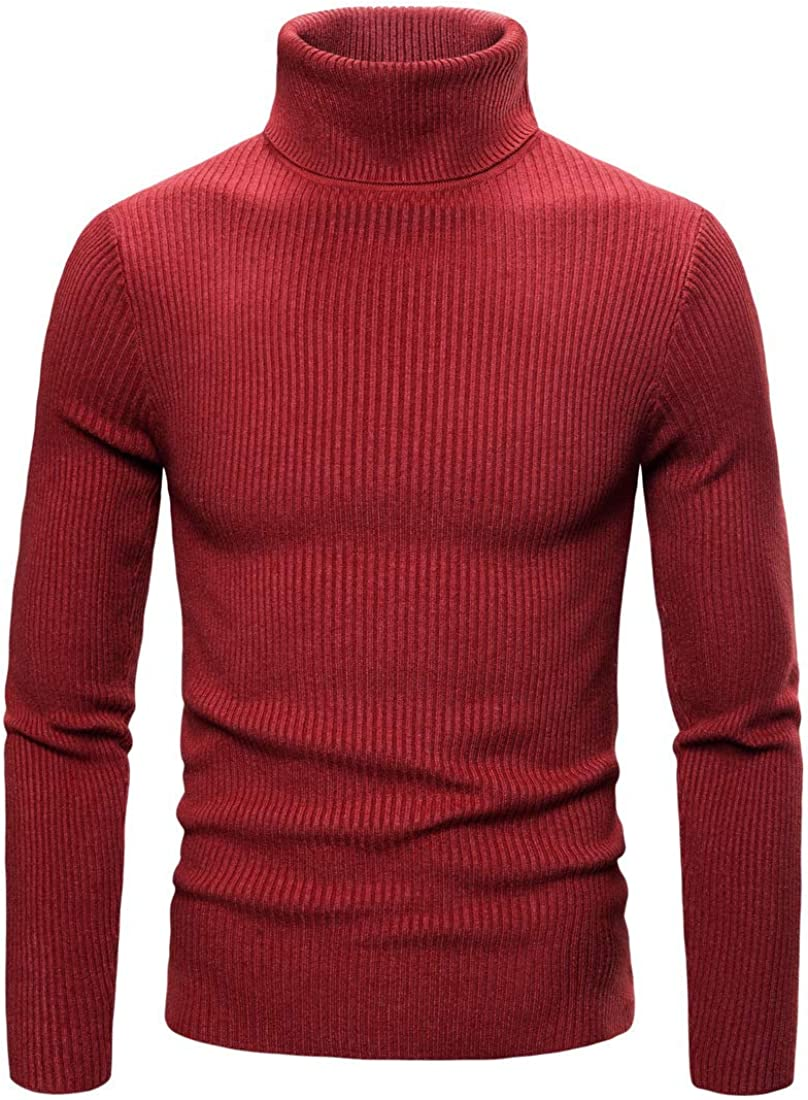 YND Men's Casual Turtleneck Sweater, Slim Fit Ribbed Knitted Pullover with Long Sleeve