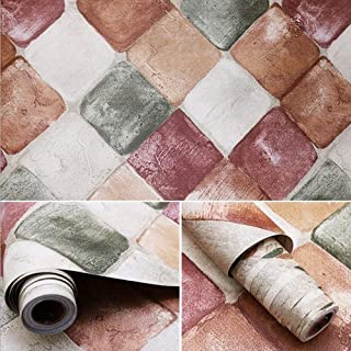 LIFAVOVY Peel and Stick Wallpaper Contact Paper Decorative Diamond Brick Self Adhesive Shelf Drawer Liner 17.7