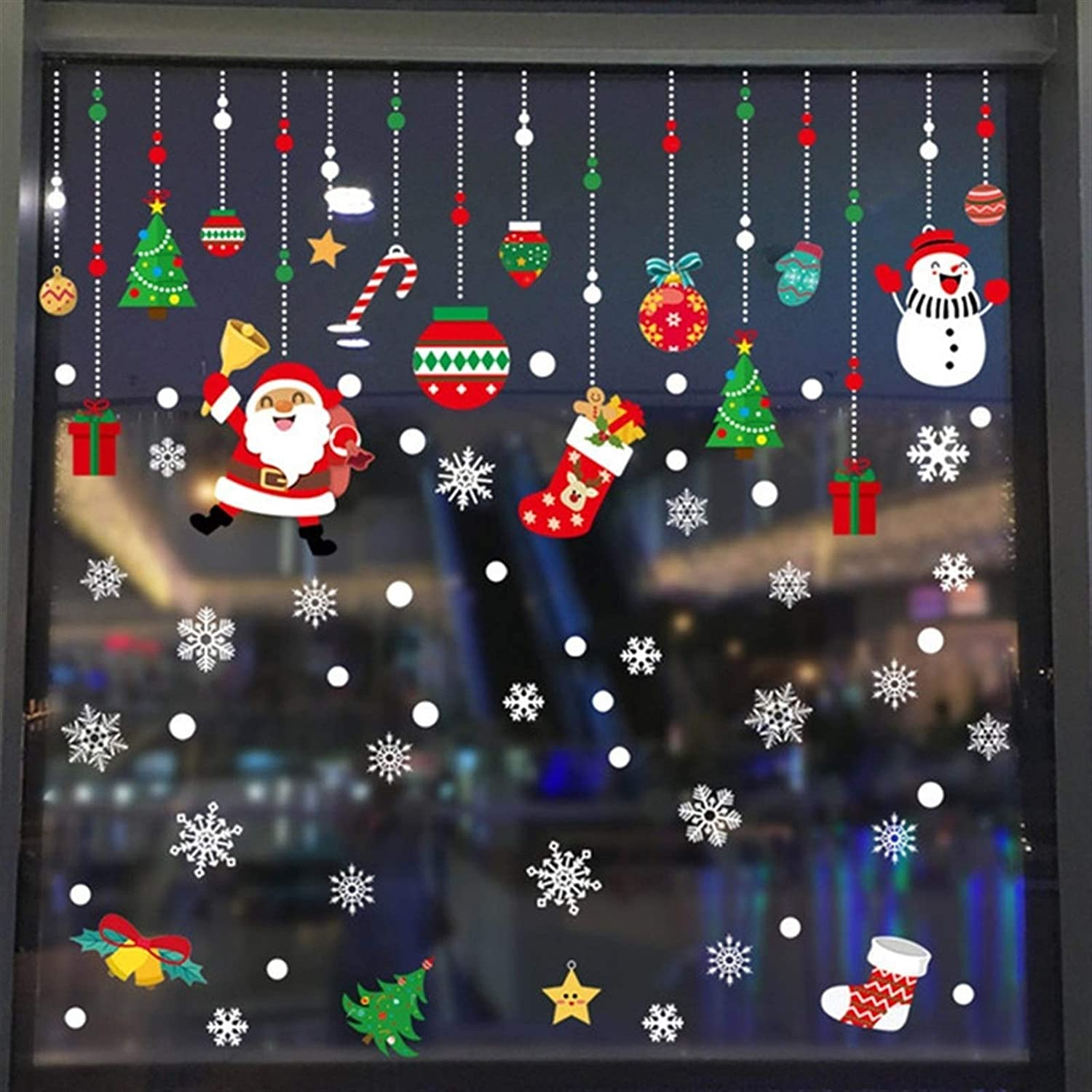 Color : 1 huoguo Christmas Window Stickers Merry Christmas Decorations for Home Wall Sticker Decal New Year Gift Xmas Decor