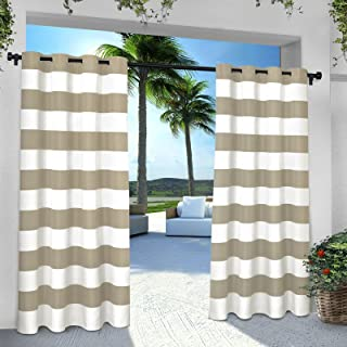 Exclusive Home Curtains Indoor/Outdoor Stripe Cabana Grommet Top Curtain Panel Pair, 54x84, Taupe, 2 Count