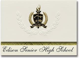 Signature Announcements Edison Senior High School (Minneapolis, MN) Abschlussankündigungen, Präsidential-Stil, Grundpaket mit 25 Goldfarbenen und schwarzen metallischen Folienversiegelungen B0795S27ZB  Großhandel