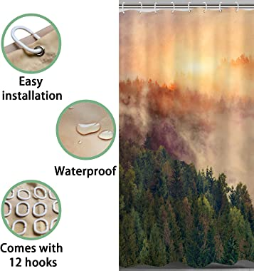Zussun Misty Forest Fog Shower Curtain,Nautre Fall Shower Curtain Home Decor Bathroom Accessory Sets with 70inx69in Standard