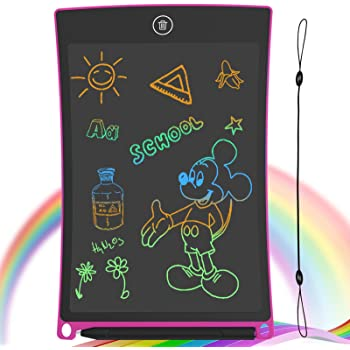 GUYUCOM 8.5-Inch LCD Writing Tablet Colorful Screen Doodle Board Electronic Digital Drawing Pad with Lock Button for Kids Adults (Pink)
