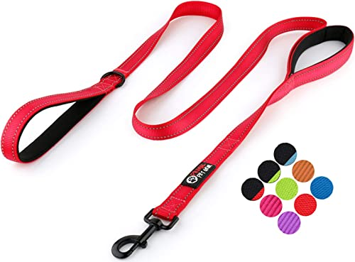 Primal Pet Gear Dog Leash 6ft Long - Traffic Padded Two Handle - Heavy Duty - Double Handles Lead for Control Safety Training - Leads for Large Dogs or Medium Dogs - Dual Handles Leashes (Red) product image